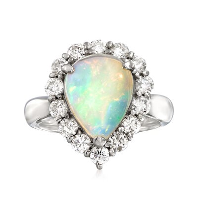 C. 2000 Vintage Opal and 1.02 ct. t.w. Diamond Ring in Platinum, , default