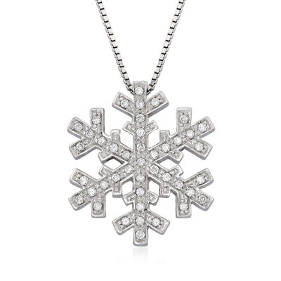 C. 1990 Vintage Salvini .34 ct. t.w. Diamond Snowflake Necklace in 18kt White Gold