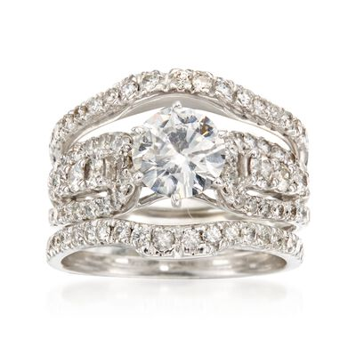 C. 1990 Vintage 2.29 ct. t.w. Diamond Bridal Set: Engagement and Two Wedding Rings in 14kt and 18kt White Gold, , default