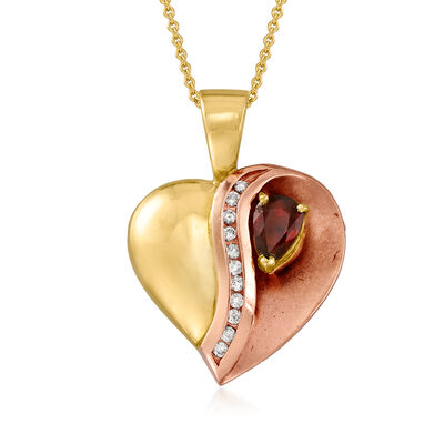 C. 1980 Vintage .90 Carat Ruby and .20 ct. t.w. Diamond Heart Pendant Necklace in 14kt Two-Tone Gold