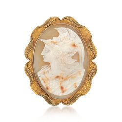C. 1950 Vintage 34x25mm Shell Centurion Cameo Pin in 10kt Yellow Gold, , default