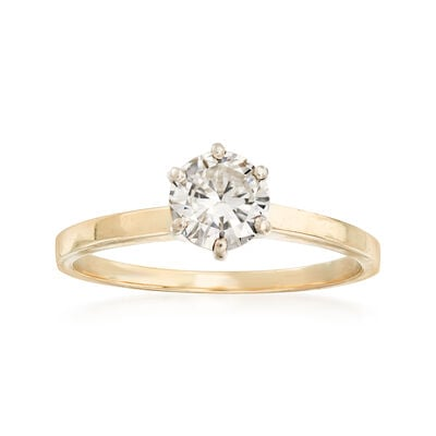 C. 1980 Vintage .75 Carat Diamond Solitaire Ring in 14kt Yellow Gold, , default