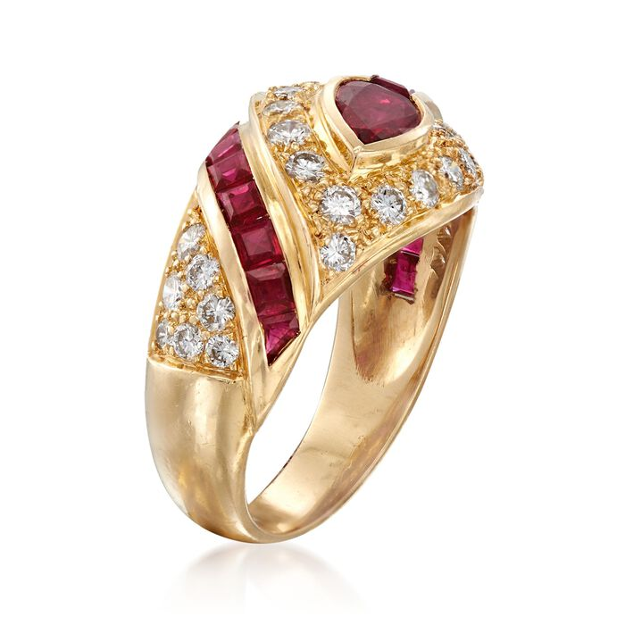 C. 1990 Vintage 1.80 ct. t.w. Ruby and .75 ct. t.w. Diamond Dome Ring in 18kt Yellow Gold
