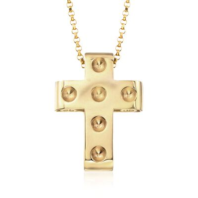 "Roberto Coin ""Pois Moi"" 18kt Yellow Gold Cross Pendant, , default"