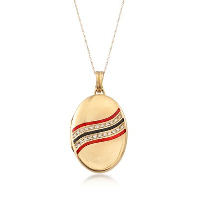 C. 1960 Vintage .35 ct. t.w. Diamond Oval Locket Pendant Necklace with Red and Black Enamel in 14kt and 18kt Gold, , default
