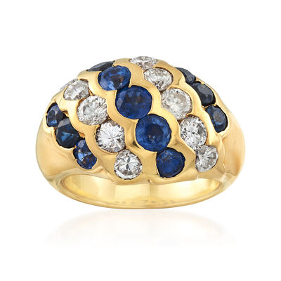 C. 1990 Vintage 3.37 ct. t.w. Sapphire and 1.81 ct. t.w. Diamond Diagonal Ring in 18kt Yellow Gold
