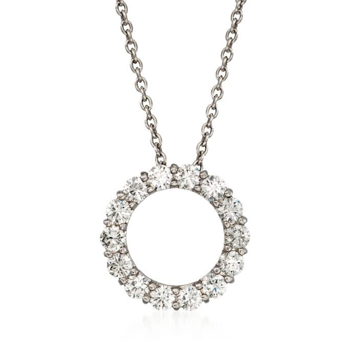 "Roberto Coin 1.25 Carat Total Weight Diamond Circle Necklace in 14-Karat White Gold. 16"", , default"