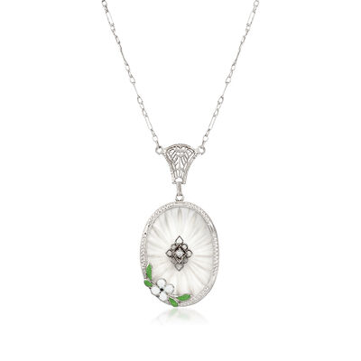 C. 1950 Vintage Frosted Glass Oval Pendant Necklace with Enamel Flower and Diamond Accent in 14kt White Gold