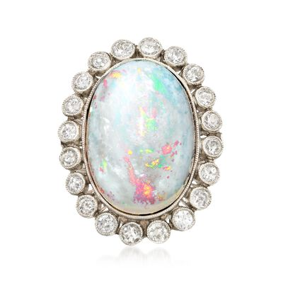 C. 1950 Vintage Opal and .75 ct. t.w. Diamond Halo Ring in Platinum, , default