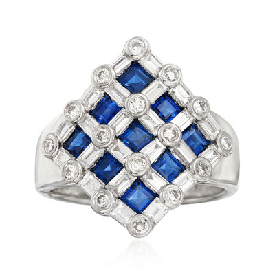 C. 1980 Vintage 1.58 ct. t.w. Sapphire and 1.25 ct. t.w. Diamond Checkerboard Ring in Platinum, , default
