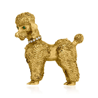 C. 1960 Vintage 14kt Yellow Gold Poodle Pin with Diamond and Emerald Accents