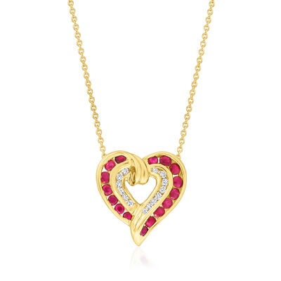 C. 1980 Vintage 1.00 ct. t.w. Ruby and .20 ct. t.w. Diamond Heart Pendant Necklace in 14kt and 10kt Yellow Gold