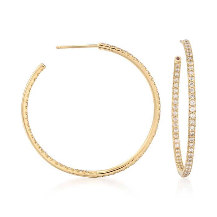 Roberto Coin 1.10 Carat Total Weight Diamond In-And-Out Hoops in 18-Karat White Gold, , default