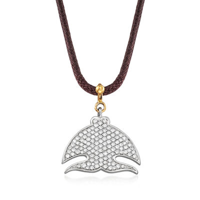 "C. 2000 Vintage Pasquale Bruni ""Le Monde"" .70 ct. t.w. Diamond Necklace in 18kt Two-Tone Gold with Leather Cord, , default"
