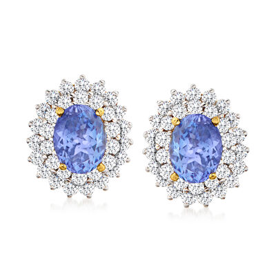 C. 1980 Vintage 3.50 ct. t.w. Tanzanite and 1.70 ct. t.w. Diamond Earrings in 18kt Two-Tone Gold