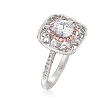Simon G. .24 ct. t.w. Pink and White Diamond Engagement Ring Setting in 18kt Two-Tone Gold, , default
