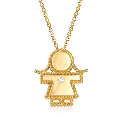 "Roberto Coin ""Princess"" Girl Pendant Necklace with Diamond Accent in 18kt Yellow Gold, , default"
