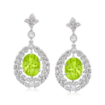 C. 2000 Vintage 4.90 ct. t.w. Peridot and .50 ct. t.w. Diamond Drop Earrings in 18kt White Gold