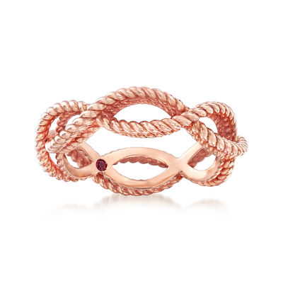 "Roberto Coin ""Barocco"" Roped Ring in 18kt Rose Gold, , default"
