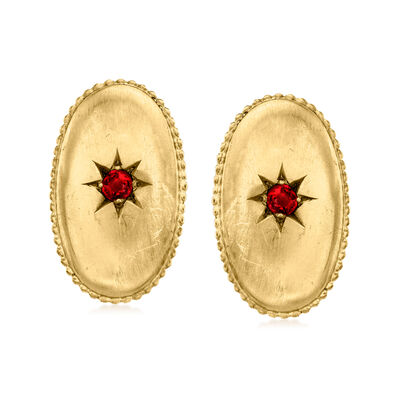 C. 1950 Vintage 14kt Yellow Gold Oval Earrings with Red Glass