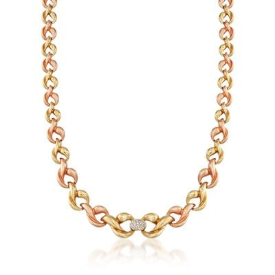 C. 1980 Vintage .30 ct. t.w. Diamond Link Necklace in 18kt Tri-Colored Gold, , default