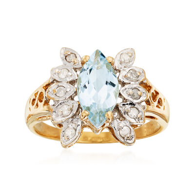 C. 1990 Vintage .85 Carat Aquamarine Ring with Diamond Accents in 14kt Yellow Gold, , default