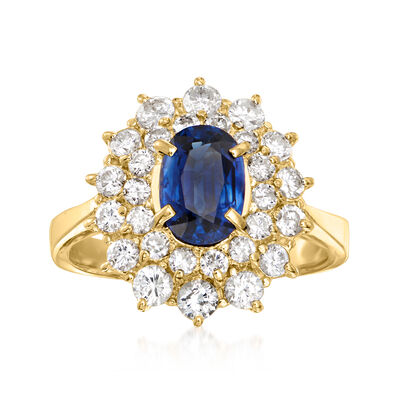 C. 1990 Vintage 1.06 Carat Sapphire Ring with .91 ct. t.w. Diamonds in 18kt Yellow Gold