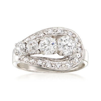 C. 1950 Vintage 1.40 ct. t.w. Diamond Ring in 14kt White Gold
