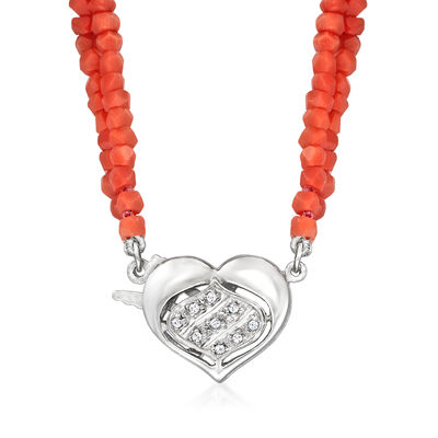 C. 1990 Vintage Red Coral Bead and Diamond-Accented Heart Clasp Necklace with 14kt White Gold
