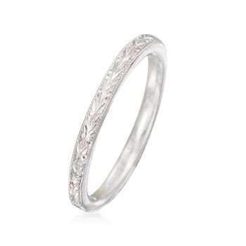 Gabriel Designs 14kt White Gold Engraved Wedding Ring. Size 8