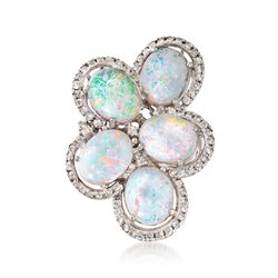 C. 1990 Vintage White Opal and 1.10 ct. t.w. Diamond Cluster Ring in 14kt White Gold, , default