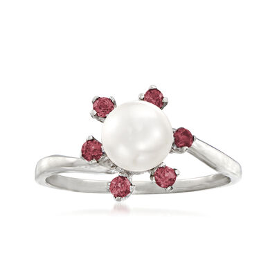 C. 1970 Vintage 6.5mm Cultured Pearl Flower Ring with .25 ct. t.w. Pink Rhodolite Garnets in 10kt White Gold