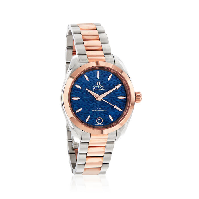 Omega Seamaster Aqua Terra Women's 34mm Automatic Stainless Steel and 18kt Rose Gold Watch with Blue Dial