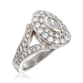 C. 2000 Vintage 1.15 ct. t.w. Diamond Oval-Top Ring in Platinum. Size 5