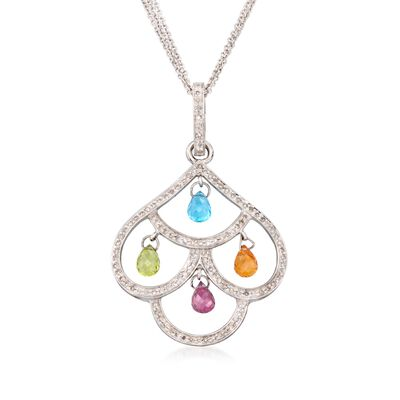 C. 2000 Vintage 5.35 ct. t.w. Multi-Stone Chandelier Necklace in 14kt White Gold, , default