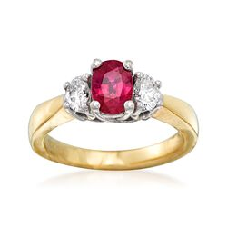 C. 1990 Vintage 1.00 Carat Ruby and .40 ct. t.w. Diamond Ring in 14kt Two-Tone Gold, , default