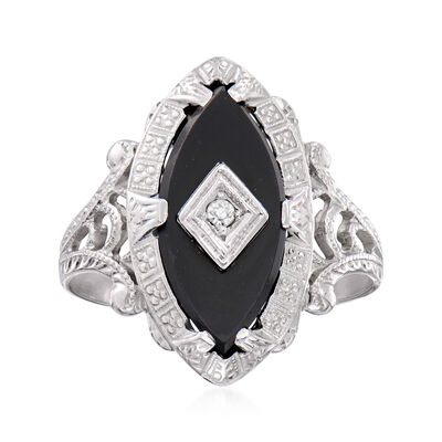 C. 1950 Vintage Black Onyx Ring with Diamond Accent in 14kt White Gold