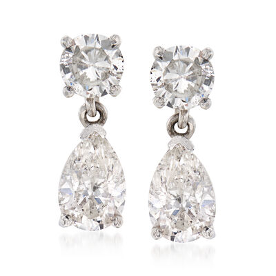 C. 1980 Vintage 1.98 ct. t.w. Diamond Drop Clip-On Earrings in 14kt White Gold, , default
