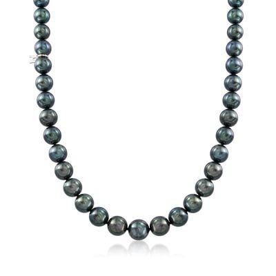 Mikimoto 8.1-10.9mm A+ Black South Sea Pearl Necklace With 18kt White Gold and Diamond Accent, , default