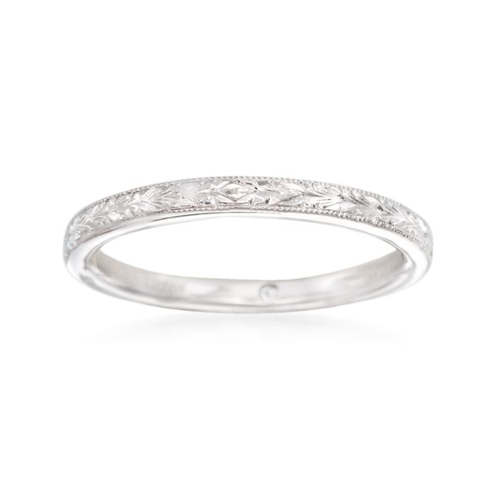 Gabriel Designs 14kt White Gold Engraved Wedding Ring. Size 5, , default