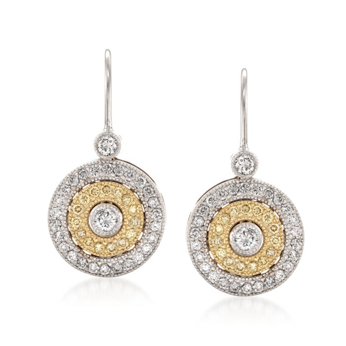 Simon G .50 Carat Total Weight White and Yellow Diamond Circle Earrings in 18-Karat Tri-Colored Gold, , default