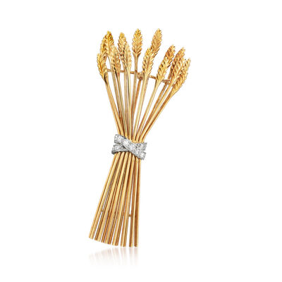 C. 1970 Vintage Tiffany Jewelry 18kt Yellow Gold Wheat Pin with .35 ct. t.w. Diamonds