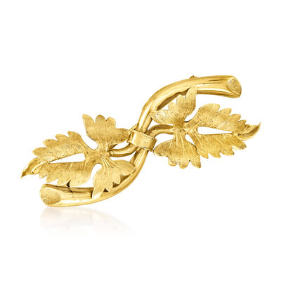 C. 1970 Vintage 18kt Yellow Gold Double-Leaf Pin