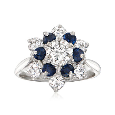 C. 1980 Vintage 1.75 ct. t.w. Diamond and .90 ct. t.w. Sapphire Flower Ring in 14kt White Gold