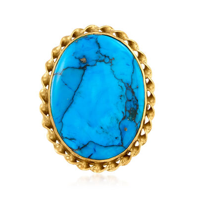 C. 1970 Vintage Blue Howlite Ring in 18kt Yellow Gold