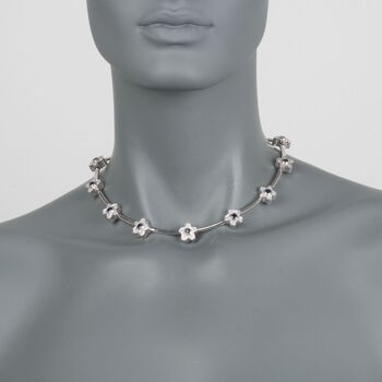 C. 1990 Vintage 2.00 ct. t.w. Sapphire and 2.00 ct. t.w. Diamond Floral Necklace in 18kt White Gold. 15.5""