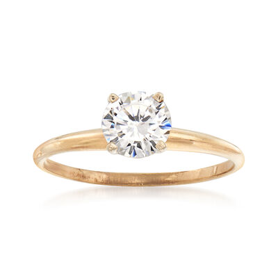 C. 1990 Vintage .85 Carat CZ Ring in 10kt Yellow Gold, , default