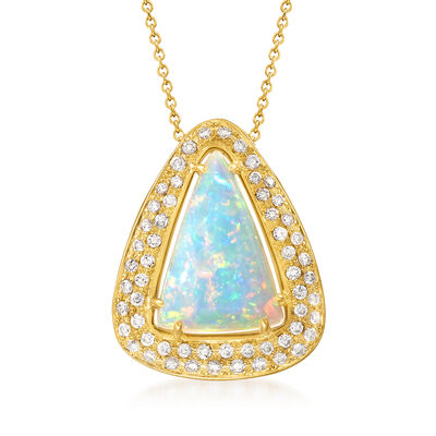 C. 1980 Vintage Opal and .62 ct. t.w. Diamond Pendant Necklace in 18kt Yellow Gold