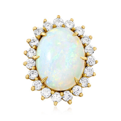 C. 1970 Vintage Opal and 2.65 ct. t.w. Diamond Ring in 18kt Yellow Gold, , default