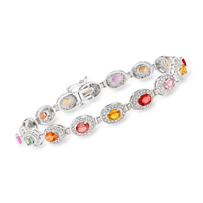 C. 1990 Vintage 5.60 ct. t.w. Multicolored Sapphire and 2.00 ct. t.w. Diamond Bracelet in 14kt White Gold